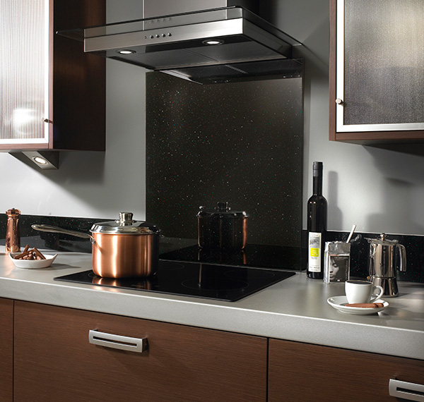 sparkly black kitchen glass splashback Impact Glass Glamour and Glitz