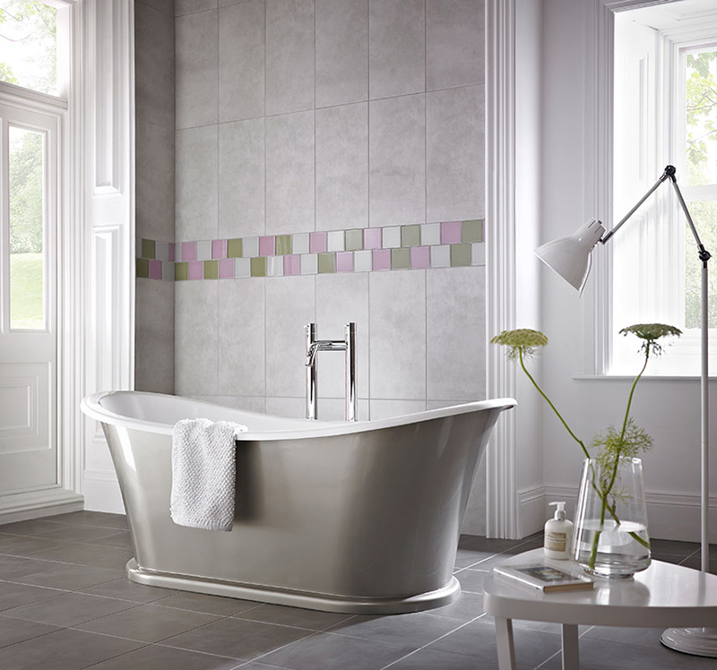 bathroom wall tiles Impact Glass Pashmena lilac colour Earl and Olive colour tiles