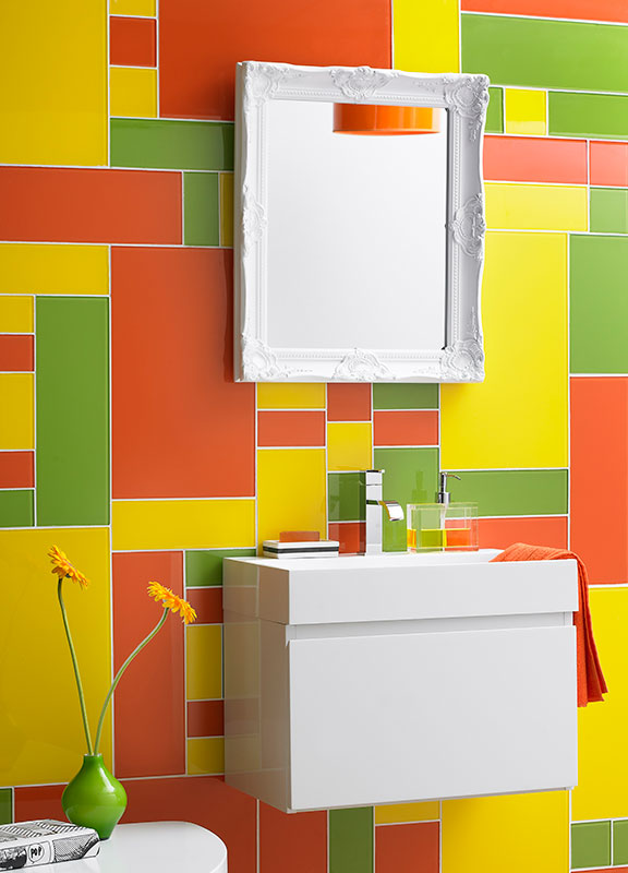bathroom glass splashback Impact Vibrance Citrus colours