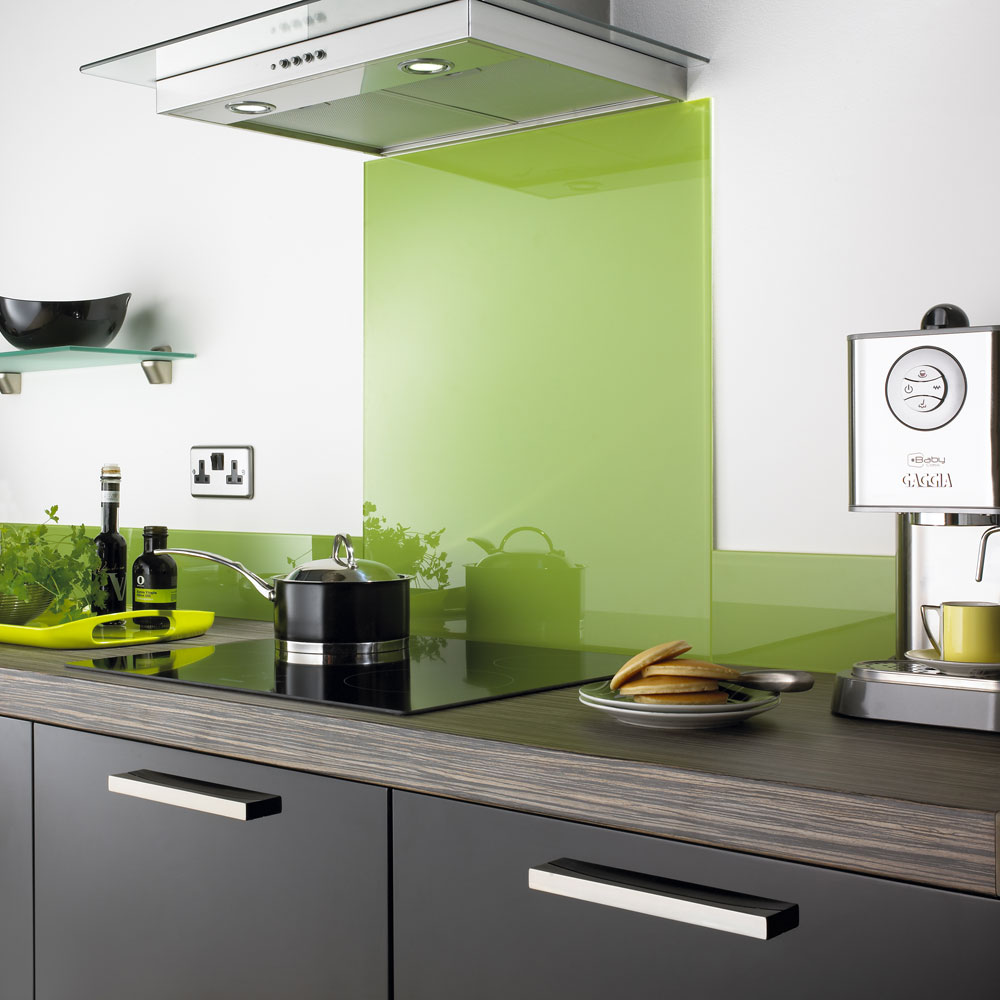 lime green Impact glass splashback shown in grey kitchen with dark wood worktop