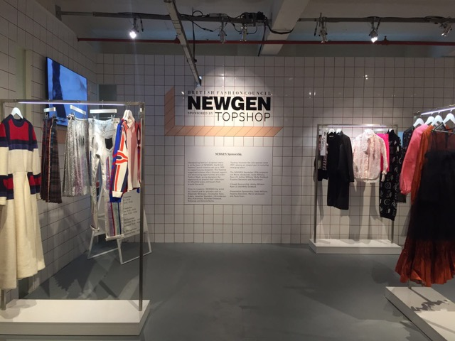 ivory ceramic wall tile with red grouting at newgen topshop London fashion week