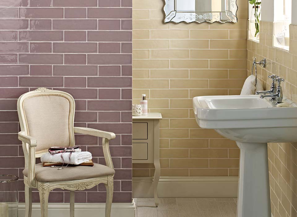 Laura Ashley Artisan tiles LA51836 shown in amethyst and creamware colours