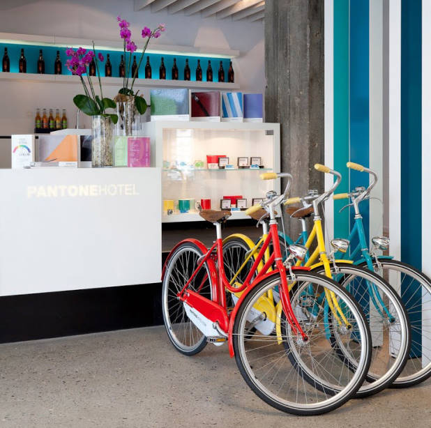 The colourful reception at the pantone hotel