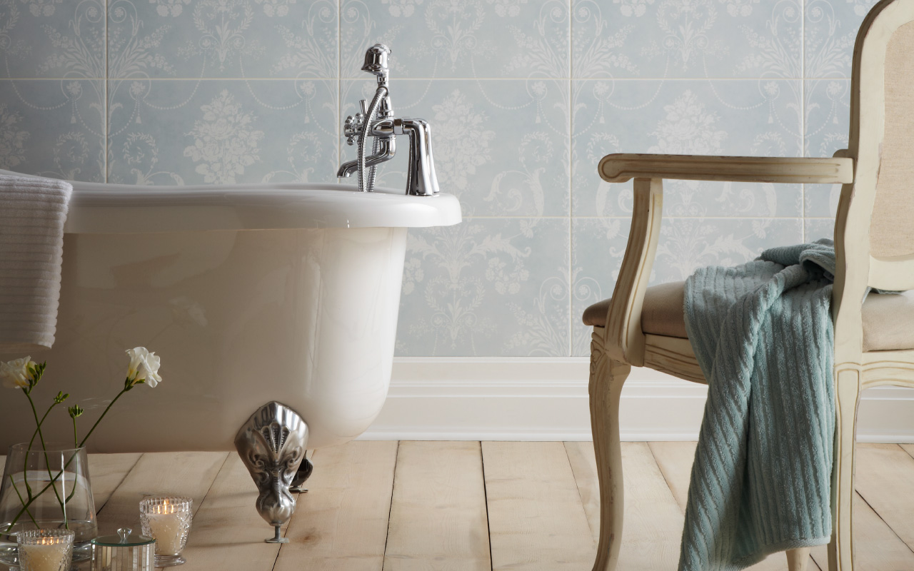 Laura Ashley Designer Wall Tiles In Josette Damask Style In Duck Egg Blue  Shown In Bathroom Part 60