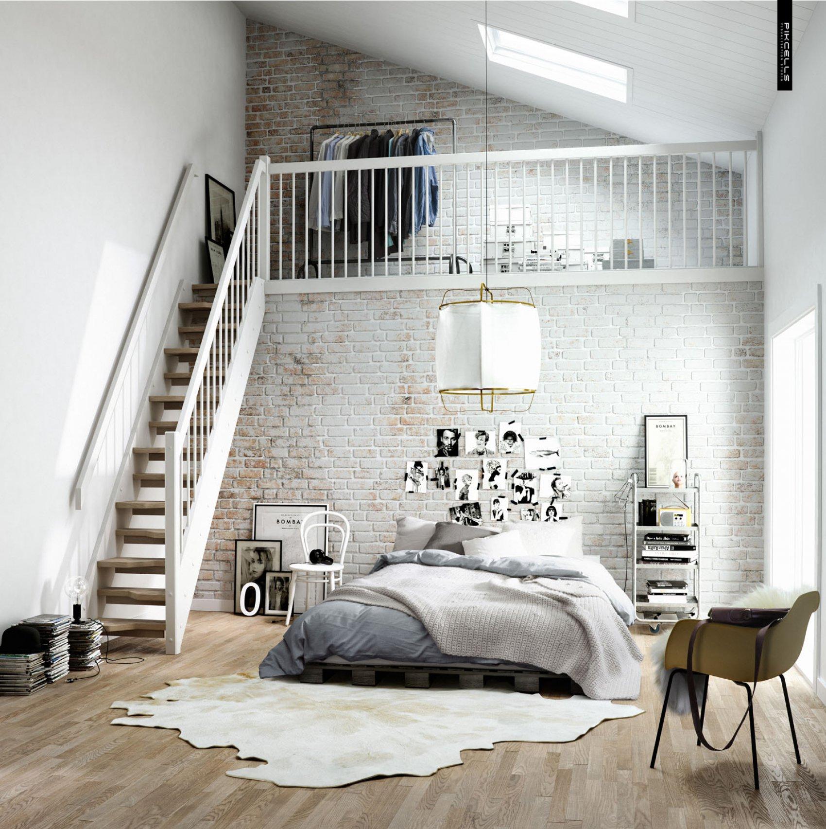 open plan room with whitewash brickwork