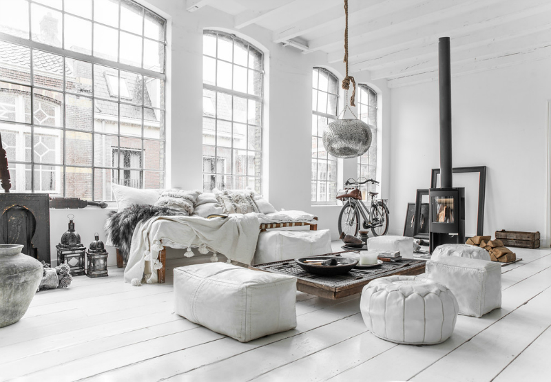 whitewash converted mill open plan apartment scandinavian style