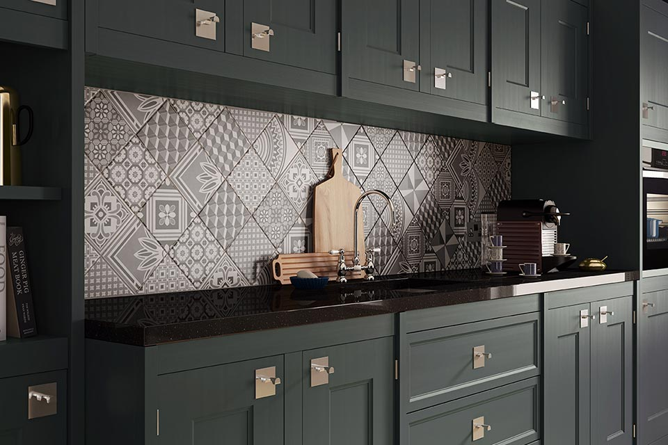 kitchen splashback featuring ted baker geo tile in a contemporary black kitchen