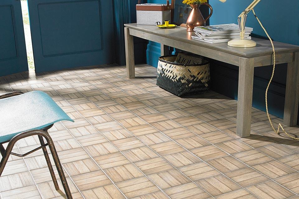 designer floor tile ted-baker parqtile hallway