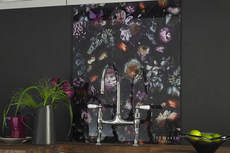 Ted Baker designer vintage floral splashback in black and bright colours