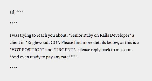 Bad recruiter email