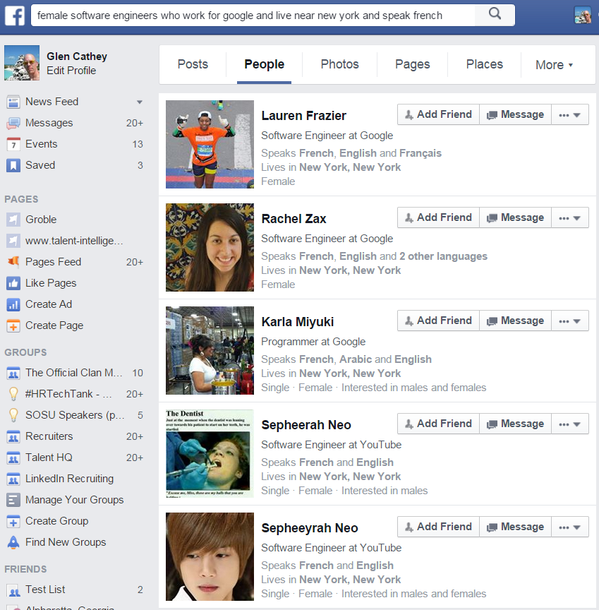 Facebook Graph Search Example