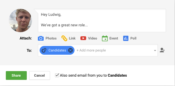 Messaging candidates on Google plus