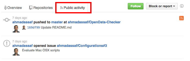 sourcing on github (public activity)