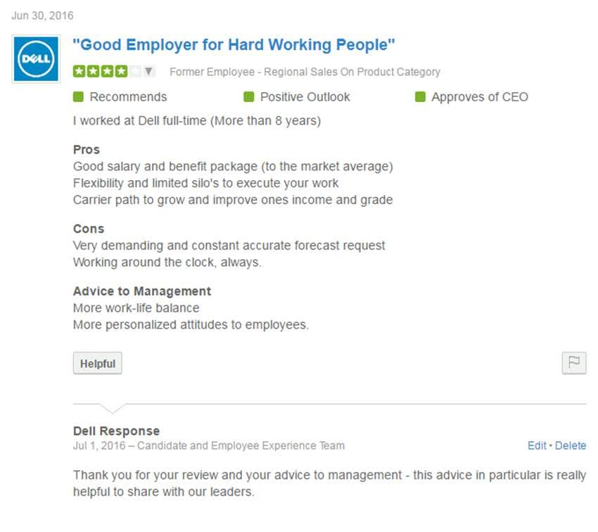 Dell Glassdoor Page Responded