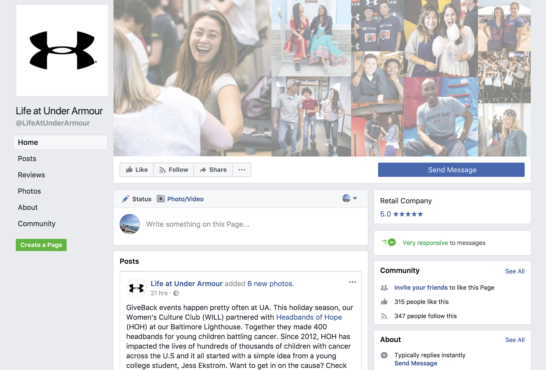 UnderArmour Jobs Facebook