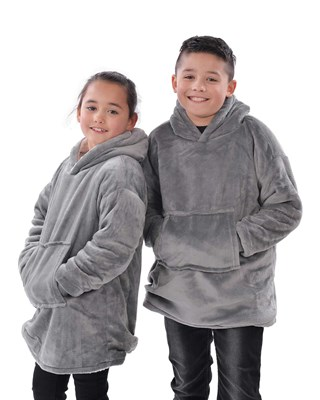 The Kids Eskimo Oversized Cosy Reversible Sherpa Hoodie - Grey