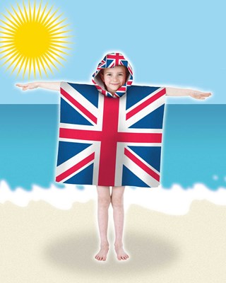 Kids Union Jack Design Hooded Poncho Pals Beach, Bath Towels