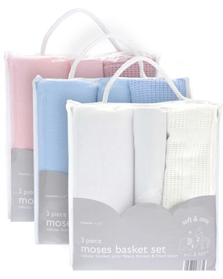 Soft & Cosy 3 Piece Moses Basket Set (Box Quantity 12)