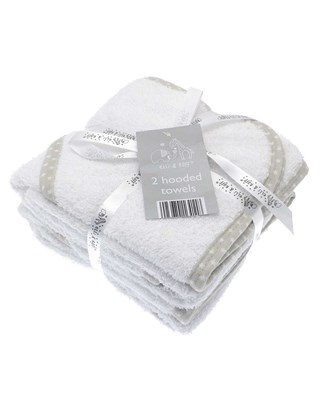 100% Cotton Pack of 2 Hooded Baby Towels (Box Quantity 24)