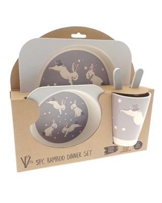 5 Piece Rabbit Design Bamboo Dinner Set (Box Quantity 24)