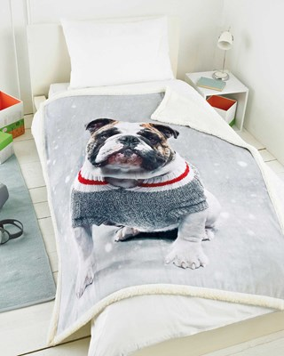 Festive Dog Design Microsherpa Blanket Throws (Box Quantity 8)