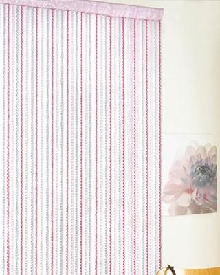 Luxury Braid Design String Door Curtains 90x200cm - Grey / Pink