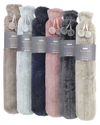 Long Hot Water Bottles with Luxury Faux Fur Cover - Assorted Colours