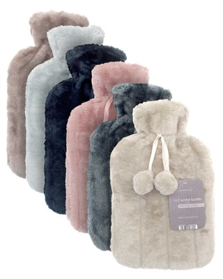Hot Water Bottles with Luxury Faux Fur Cover - Assorted Colours