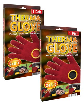 Heat Resistant BBQ Therma Gloves - Pair Pack - Red