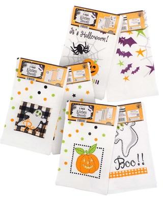 Pack of 3 Halloween Design Tea Towels - Assorted Designs