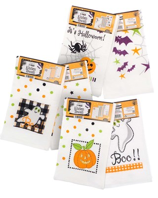 Pack of 3 Halloween Design Tea Towels (Box Qty 36)