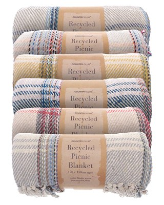 Recycled Checked Design Cotton Picnic Blankets (Box Quantity 16)
