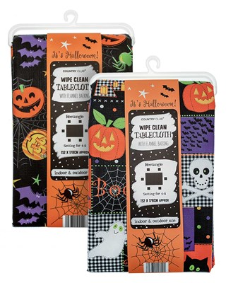 Halloween Design Wipe Clean Tablecloths- Assorted (Box Qty 24)