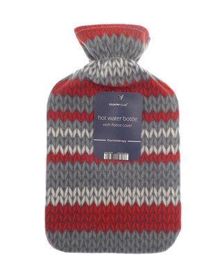 Hot Water Bottles with Printed Fleece Cover - Knitted Stripe Design