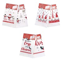 Pack of 3 Christmas Design Tea Towels - Novelty Assorted (Box Qty 36)
