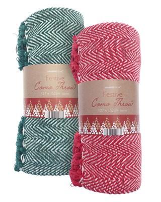 Festive Como Design Cotton Throws 127x152cm - Assorted Colours