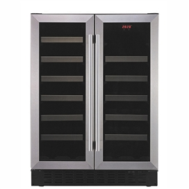 60cm-2-door-wine-storage-dual-zone-stainless-steel-glass-prwc262