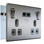brushed-steel-black-insert-double-switched-socket-with-usb-charger-2-1a-usb-output-fits-25mm-box-ref-nbs22ub-01