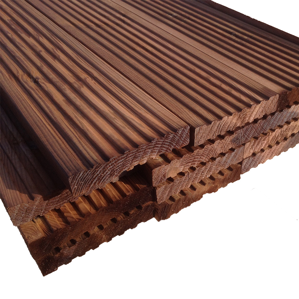 Brown treated 32x125mm decking softwood pefc for Brown treated deck boards