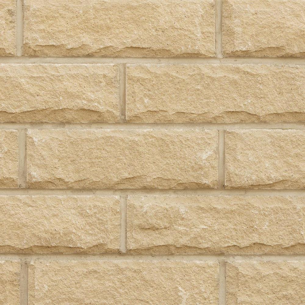 Cromwell Pitched Face Walling Buff Yorkstone 365x140x90mm