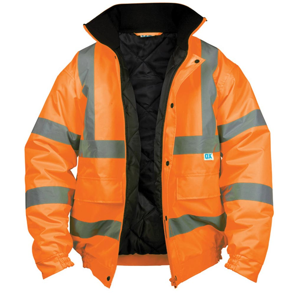 Orange High Visibility Bomber Jacket Large