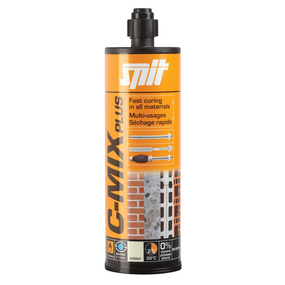 Spit C Mix Plus 300ml Cartridge 2no Nozzles Grey Fibre