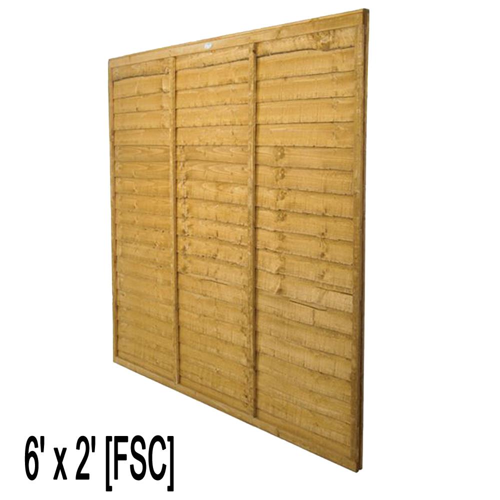 Waney Lap Fence Panel 6ft W X 2ft H Fsc