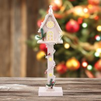 70cm White Wooden Tree House With Snow Glitter