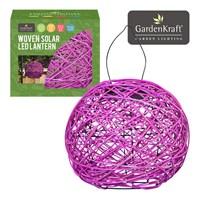 Pink Rattan Solar Lantern