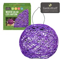 Purple Rattan Solar Lantern