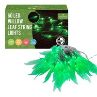 60 LED Green Willow Leaves String Light