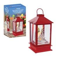 14 LED Festive Snow Lantern W/Swirling Snow- Red