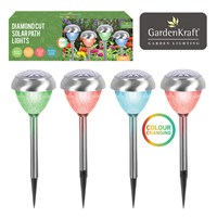4pc Stainless Steel Colour Change Solar Light