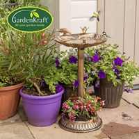 Clam Shell Bird Bath with Built-in Base Planter